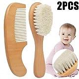 MZY1188 Spazzola per Capelli per Bambini con Manico in Legno, Set di spazzole e Pettine in Legno Naturale 2 Pezzi, Kit per Bambini per Bambini con Capra Super Morbida