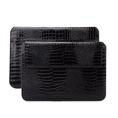 iCues Schutzhülle kompatibel mit Apple iPad Mini 4 Case | Samsung Galaxy Tab S2 8.0 Tasche | 6.9 bis 8.0 Zoll Tablet Piquante Etui Caiman Schwarz | Sleeve Hülle Case Leder Schutz Krokodil Tasche