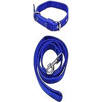 SENAPATI Dog Neck Collar Belts and Leash Set (Blue Color, Waterproof, Medium, Leash Size 1.5M-2M)
