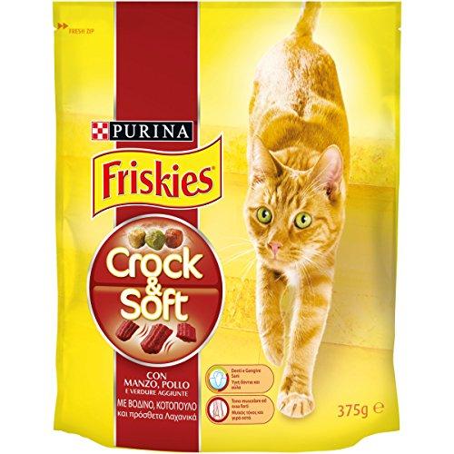 Friskies crock e soft crocchette per il gatto, con manzo, pollo e verdure aggiunte, 375 g - confezione da 12 pezzi