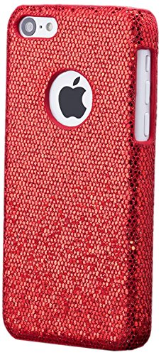 iCues - Apple iPhone 5C - Red Glitter Case   - [Protecteur d'écran inclus] Glitter Glitter Strass luxe bling dames femmes filles protection de la peau Housse de protection Couverture Coque Housse Sac  Rouge