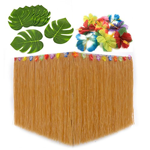 (KAIFANG Dekoration, Tisch, 1Stück, beige, mit Hibiskus Blumen Blätter-, 12-, Hula Luau Maui, Hawaii-Party-Dekoration-Set, Moana)