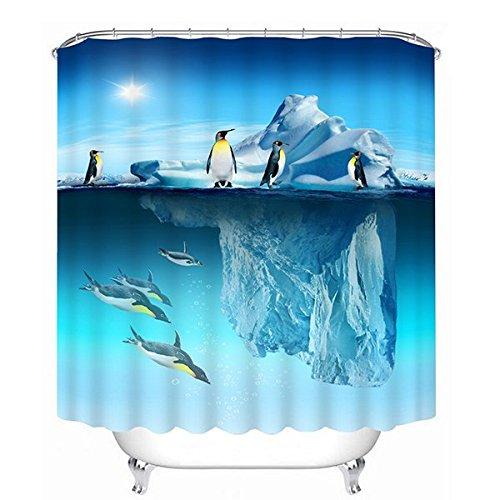 "ammybeddings Amazing Iceberg e penguinsprint 3d bagno doccia tenda, colore: blu oceano, Ganci gratuiti * 12, Blue, 71""W× 71""H"