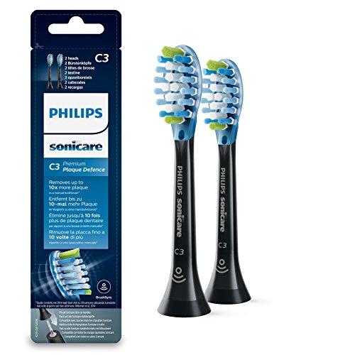 Philips Sonicare Original Premium Plaque Defense Aufsteckbürsten HX9042/33/Bürstenkopf mit integriertem Chip - für jede Sonicare Zahnbürste mit Aufsteck-System/2er Pack, Standard, Schwarz