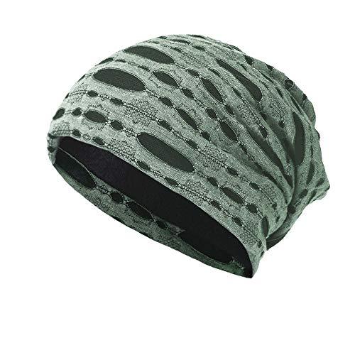 OYSOHE Herren & Damen Loch Kappen Sicherungs Kopf Hut Beanie Cap Warmer Hut im Freien(Grün,Einheitsgröße)