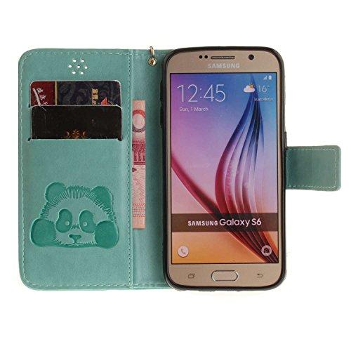 Guran® Custodia in Pelle per Apple iPhone 7 Plus (5.5 pollici) Smartphone avere Carta Slot Supporto Protettiva Flip Case Cover-rosa rossa verde-Panda