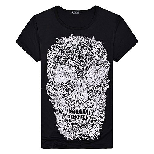 Ulanda-EU Mens T-Shirts Summer Skull Print Short Sleeve Cotton Tops Casual Formal Regular Fit Blouse for Men Shirts Clothes Clearance