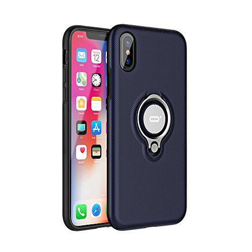 ICONFLANG iPhone X Hülle, iPhone X Tasche mit Ring Ständer, 360 Grad drehbarer Ring Halter, Dual Layer Stoßfest Schlagschutz iPhone X Hülle, Kompatibel mit Magnetic Car Mount Fall -Blau (Dual-ring-mount)
