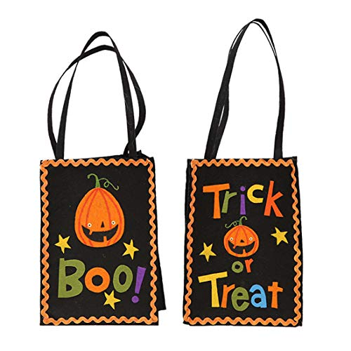 (VJUKUBWINE Halloween Tragbare Stofftasche Ghost Festival Kinder-Dekoration Requisiten Spielzeug Dress up Accessoires Kürbis Beutel Geschenktasche Candy Bag Requisiten Tasche 2 Packung)