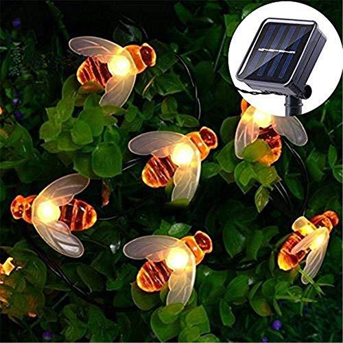 Mr.Fragile Solar Lichterketten, Wasserdichte Honigbiene Form Solarbetriebene Fairy String Lichter Für Outdoor Garten Terrasse Home Party Hochzeit Pathway Dekoration (Warmweiß),5M50led