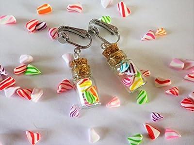 fiole bonbons berlingot blanc et multicolores boucle d oreille clips bijou gourmand