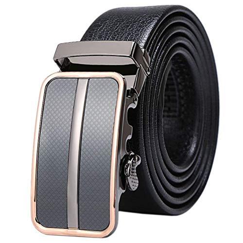 Men's Leather Belt 001 Ratchet Automatic Buckle 35 X Years 20 Mm Width 1 3 8Thanks For Men Men (Color: Schwarz, Size: L / 125)