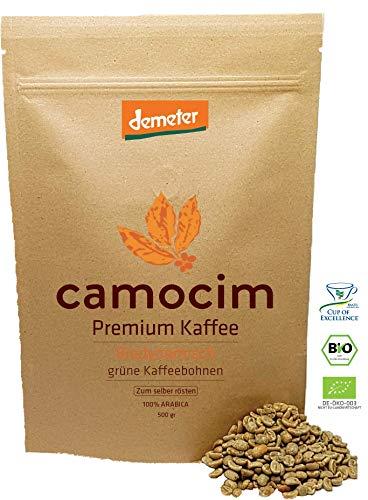 Bio Rohkaffee | 100% Grüne Kaffeebohnen Mikrolot Yellow Caturra Arabica Varietät | Single State Camocim Farm | BIO Demeter Biodynamisch Zertifiziert (500 gr)
