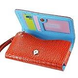 Di alta qualità a portafoglio in pelle Custodia per Huawei Ascend G730 - con porta carte di credito e tracolla rimovibile - coccodrillo/coccodrillo motivo - chiusura magnetica per facile accesso telefonico - (Arancione Plus interno colore blu) + Mini Touch Pennino per Touch Screen