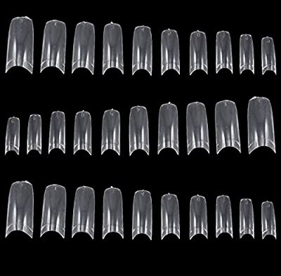 TRIXES 500 False Acrylic French Nail Tips for Varnish Art or Gel Extension Clear