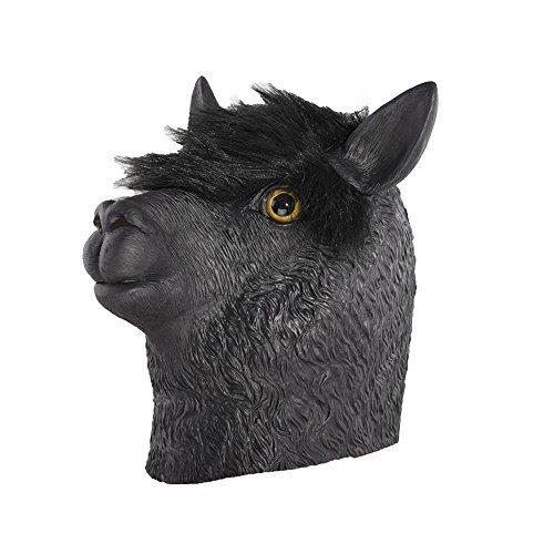 Lama Maske Kostüm - Party Story Alpaka Latex Maske Neuheit Halloween Kostüm Latex Tierkopf Maske (Schwarz)