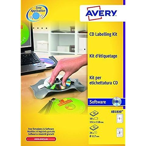 Avery AB1800 Etichette Lucide Rotonde, Tipo/Lito, Diametro 25, 100 FF, Bianco