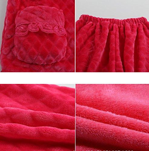 tonwhar femmes de coton flanelle pyjama de nuit - Peach Red