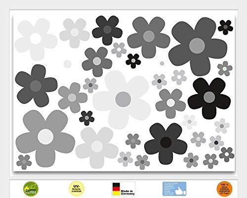 Aufkleber Set Blumen Blümchen grau I kfz_244 I Flower-Power Sticker für Roller Fahrrad Notebook Laptop Handy Auto-Aufkleber wetterfest (Blume Roller)