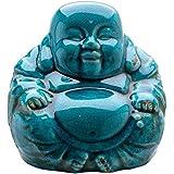 Effet Craquelé Turquoise-Bouddha Chinois Rieur Assis - 19 Cm