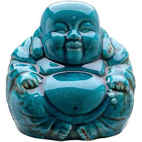 Love Your Gifts Diseño de Efecto de Cristal Turquesa Sonriente Sentado Buda Chino 19 cm