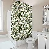 Toomjie Blume Bedruckt Duschvorhänge Farbfest und Schimmel Resistent Shower Curtain Pflanze Bad Vorhang mit Vorhanghaken B x H:150x200cm White 120x200cm