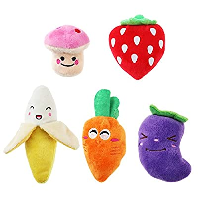 UEETEK Squeaky Dog Toys for Small Dogs Fruits and Vegetables Plush Puppy Dog Toys (A pack of 5)