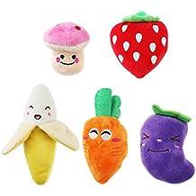 UEETEK Chillón del perro juguetes para perros frutas y verduras cachorro perro peluches (un paquete de 5)