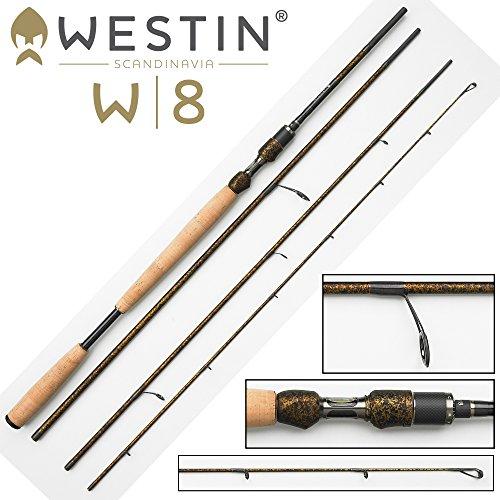 Westin W8 Rute Spin G.C. 3,38m M 7-30g Spinnrute , Angelrute zum Spinnfischen, Ruten für Forellen, Meerforellen, Meerforellenrute, 4-teilige Steckrute, Reiserute