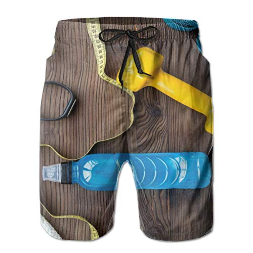 FGHJKL Men Swim Trunks Beach Shorts,Preparing to Fitness Sports Equipment On Wood Board Concept Swimming Exercise Print L (Side Tie Print Pant)