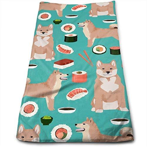 ewtretr Asciugamani Viso-Mani, Shiba Inu And Sushi Novelty Dogs Multi-Purpose Microfiber Towel Ultra...