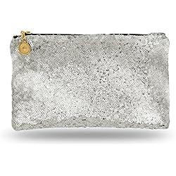 Lady Donovan - bolso de noche Noble para damas y niñas - clutch bolsa con cierre de cremallera - ideal para una fiesta o una boda - reluciente - plata