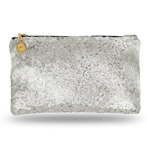 h - Edle Abendtasche für Damen und Mädchen - Portemonnaie mit Reißverschluß - ideal für die Party oder Hochzeit - glitzernd - Silber ()