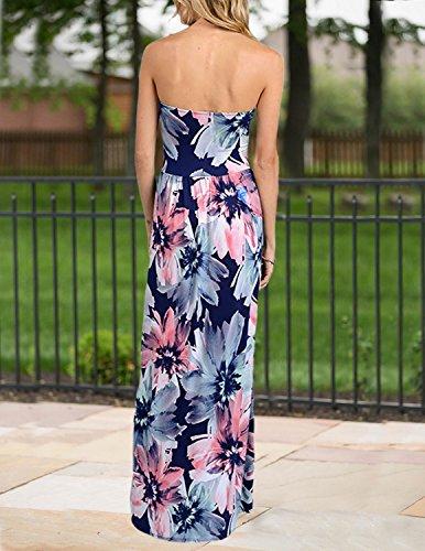 MODETREND Damen Bandeau Bustier Kleider mit Blüte Drucken Lange Sommerkleid Abendkleid Partykleid Cocktailkleid Geblümt6