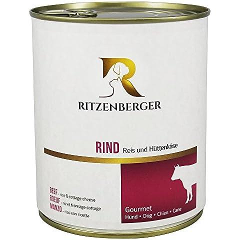 Ritzenberger, Alimento para perros, Vacuno - arroz y queso cottage, 6 x 800g, Gourmet