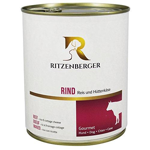 Ritzenberger, cibo per cani, Manzo - riso con ricotta, 6 x 800g, Gourmet
