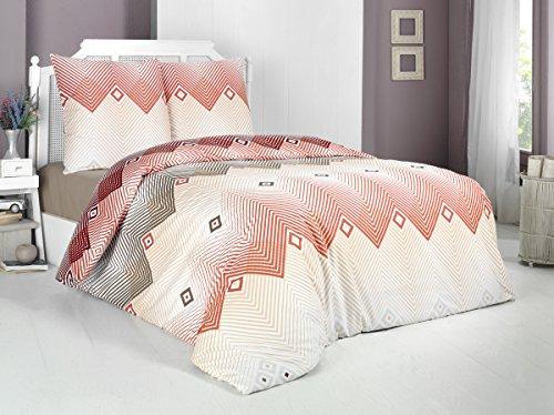 Buymax Bettwäsche-Set 3 Teilig, Renforce-Baumwolle, Reißverschluss, 200x200 cm, Orange, Gestreift -