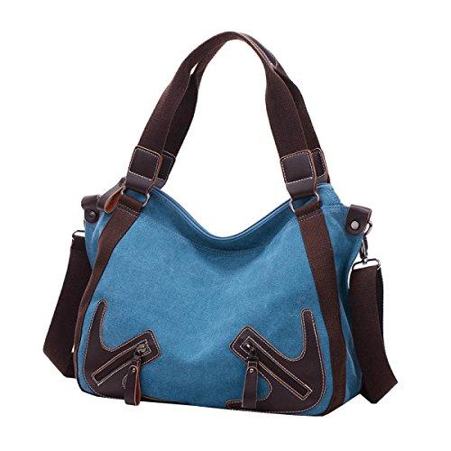 LAIDAYE Handtaschen Große Kapazität Handtasche Leinwand Reisetasche Schultertasche Messenger Bag Blue