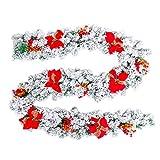 AUFUN PVC 300cm Weihnachtskranz für tür deko außen - Weiß Weihnachtsdeko Türkranz Weihnachten Garland mit Blume,Roten Beeren und Tannenzapfen (Mit Schneeeffekt und roter Blume,300cm)