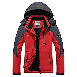 mochoose women's outdoor mountain waterproof windbreaker fleece ski snow hooded jacket sportwear rain coat camping fishing hunting working jacket