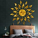 BEST DECOR Sun Flame Golden(Pack of 25)Acrylic Sticker, 3D Acrylic Sticker, 3D Mirror, 3D Acrylic Wall sticker, 3D Acrylic stickers for wall, 3D Acrylic Mirror stickers for living room, bedroom, kids room, 3D Acrylic mural for home & offices décor 11