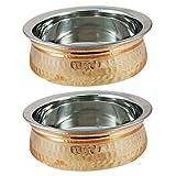 Parijat artigianato ciotola zuppiera rame acciaio inossidabile piatti da portata per antipasti, set di 2, diametro 12,7cm