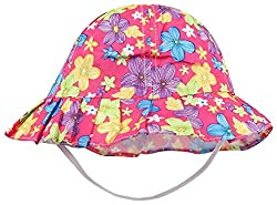 1stbabystore Baby Bowknot Bonnet Round Printed Girls Sun Hat Cap Dark Pink color