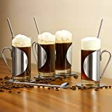 Kompletter Irish Coffee-Glas-Geschenkset mit einem Set von 4 Gläsern, Untersetzern & Rührstäben | bar@drinkstuff Irish Coffee-Gläser 10 Unzen/280ml | Irish Coffee-Set aus Edelstahl, Irish Coffee-Tassen