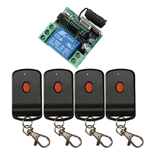 12v Ac Alarm Remote (Lejin DC 12V 1Kanal Lerncode Funkfernbedienung Schalter System 1 * Receiver + 4 * Sender Garagentor Relais Fernschalter Funksender Steuerung)