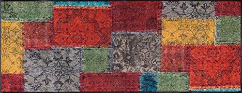 wash+dry Vintage Patches Fußmatte, Acryl, bunt, 190 x 75 x 0.7 cm