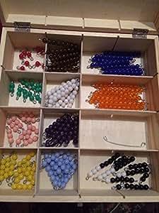 Boîte de barrettes de perles colorées x 9 Montessori Matériel methode : Jeux éducatif en bois