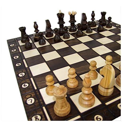 BAMBINIWELT-Schachspiel-Schach-Schachbrett-mit-Figuren-54x54cm-handgeschnitzt