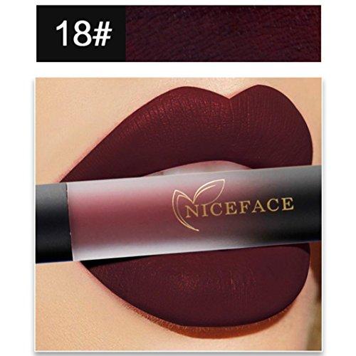 Fett Make-up-set (Damen Farbverlauf Lipgloss, SHOBDW Neue Neue 18 Farben Lip Lingerie Matte Flüssigkeit Lippenstift Wasserdichte Lipgloss Make-Up (R))