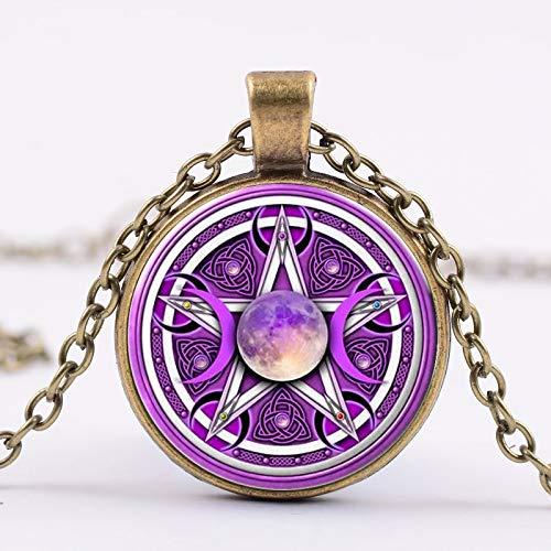 Charme Lila Dreifach Mond Göttin Anhänger Pentagramm Halskette Wicca Schutz Halbmond Übernatürliche Amulett Halskette